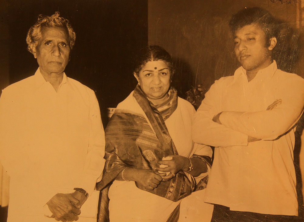 Sajjad Hussain with Lata Mangeshkar and his son Nasir Ahmed.