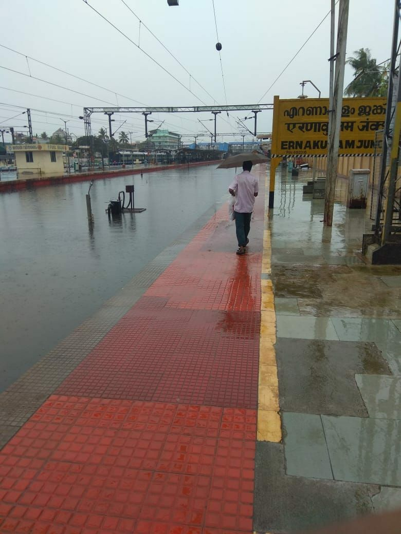 The Ernakulam railway station was flooded on Tuesday (Photo credit: Subash)