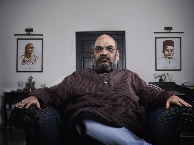 BJP President Amit Shah's residence proudly displays a photo of Vinayak Savarkar. (Credit: Reuben Singh/HT).