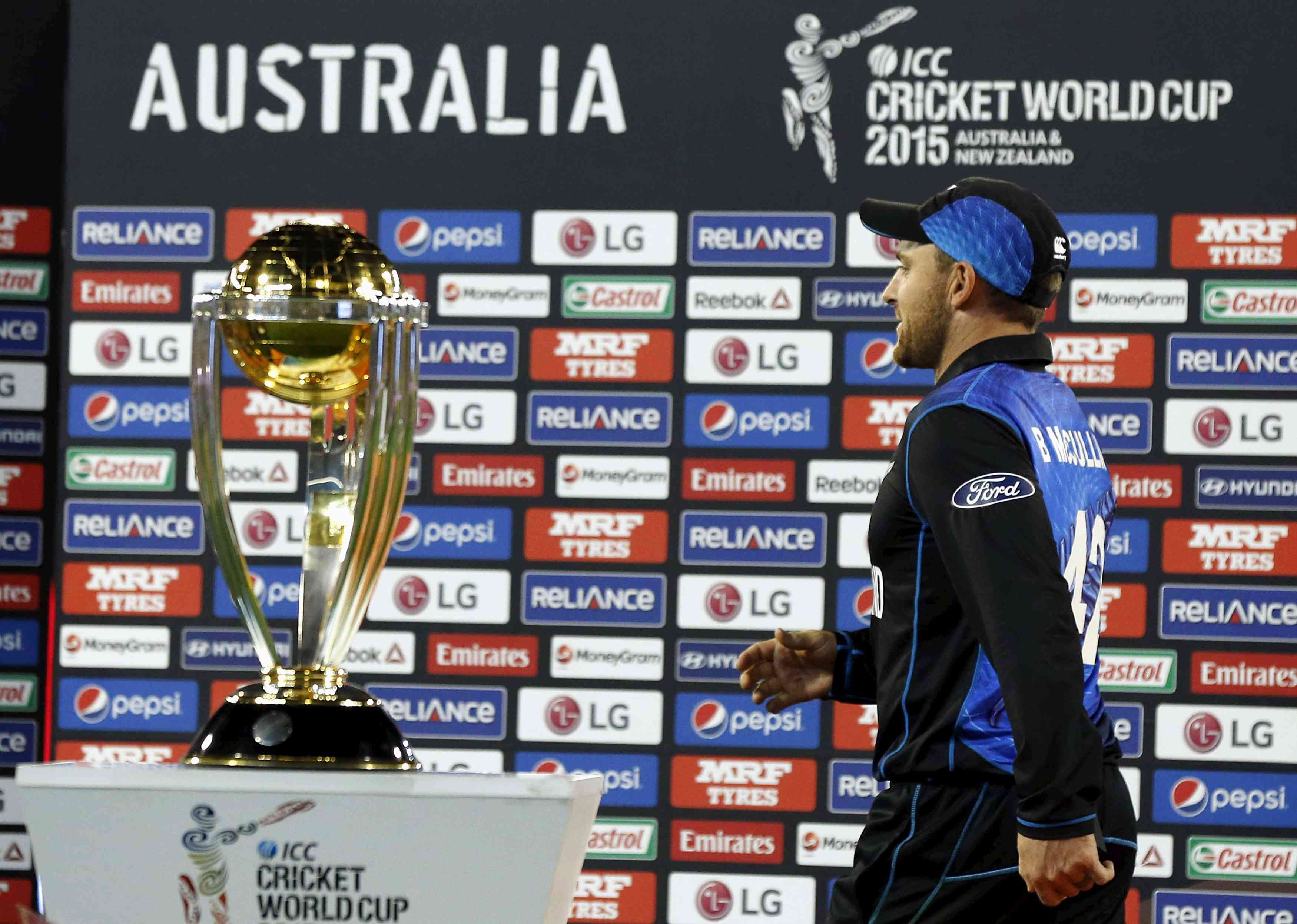 Former New Zealand captain Brendon McCullum walks past the 2015 World Cup trophy after losing the final.| Jason Reed/ Reuters