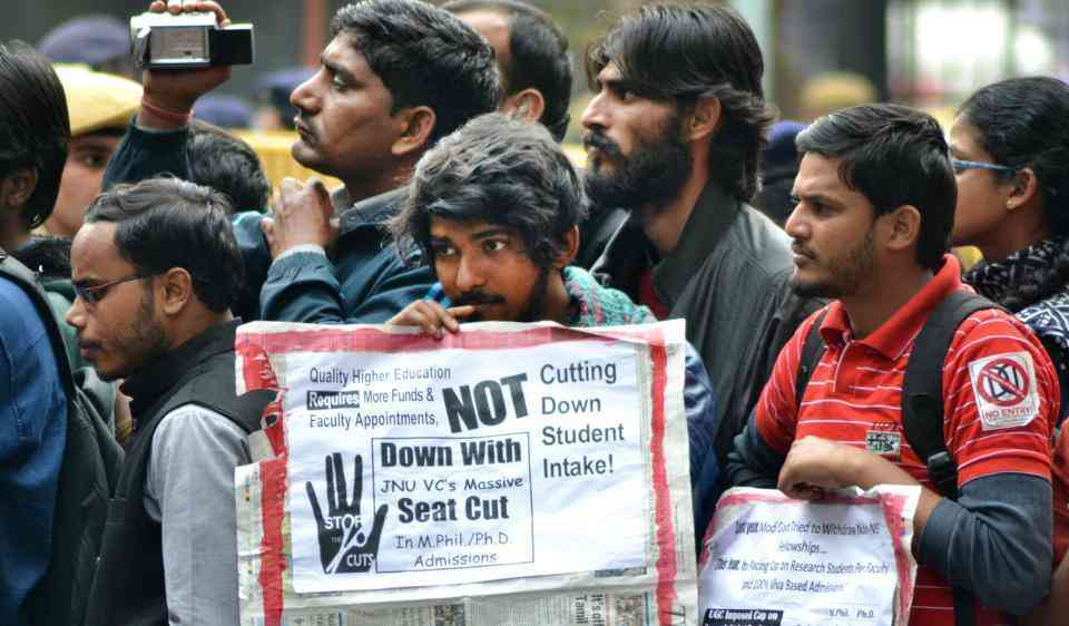 JNU students marched in Delhi in March 2017 to protest against the reduction in seats. Photo: HT