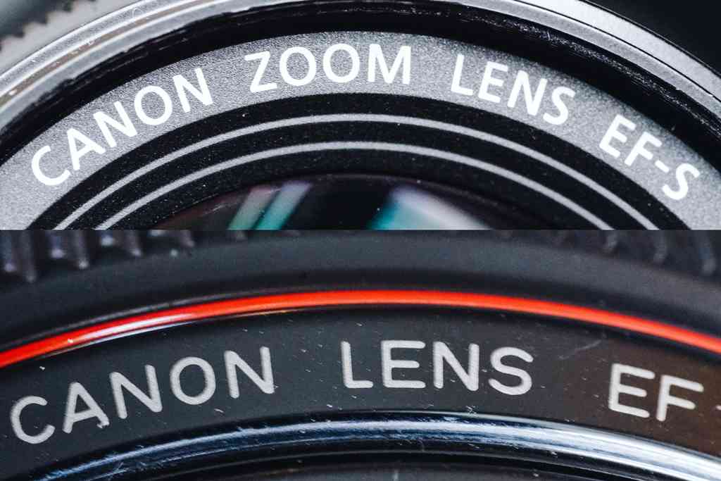 "Canon lenses made for the APS-C cameras we recommend are marked ""EF-S"" on the front (top). The company's full-frame lenses are marked ""EF"" (bottom). Photos: Phil Ryan."