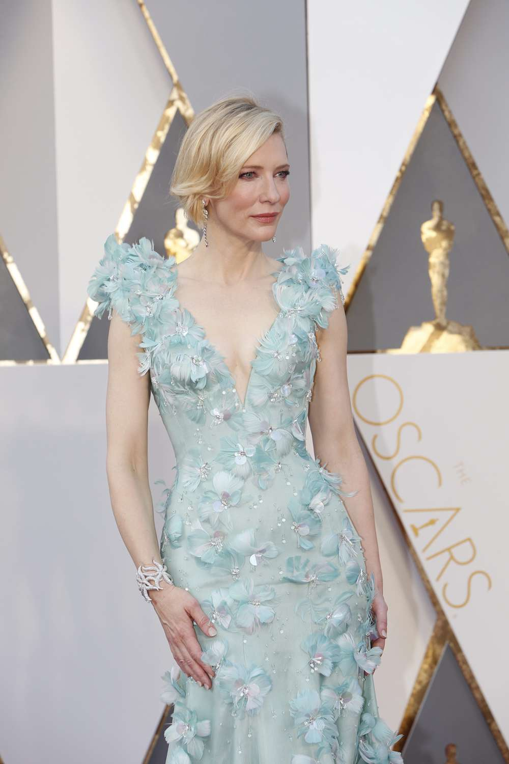 Cate Blanchett in Armani Prive embellished with crystals and flowers.