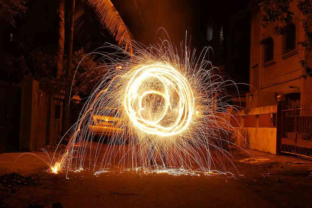 Despite the Supreme Court ban on Diwali fireworks after 10 pm, celebrations with fireworks continued, violating the ban. Photo Credit: Siddheshjoshi/Wikimedia Commons
