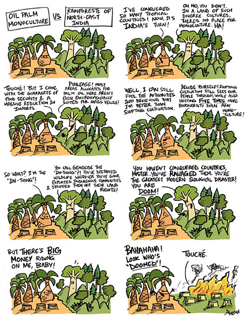 Oil Palm Monoculture in North East India. Image credit: Rohan Chakravarty/Green Humour