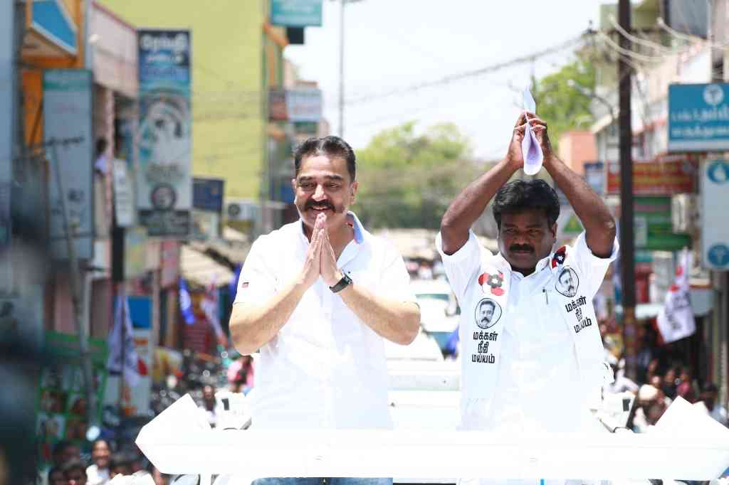 Makkal Needhi Maiam President Kamal Haasan during an election campaign ahead of 2019 Lok Sabha polls, in Tindivanam, Tamil Nadu, on March 31, 2019. (Photo credit: IANS).).