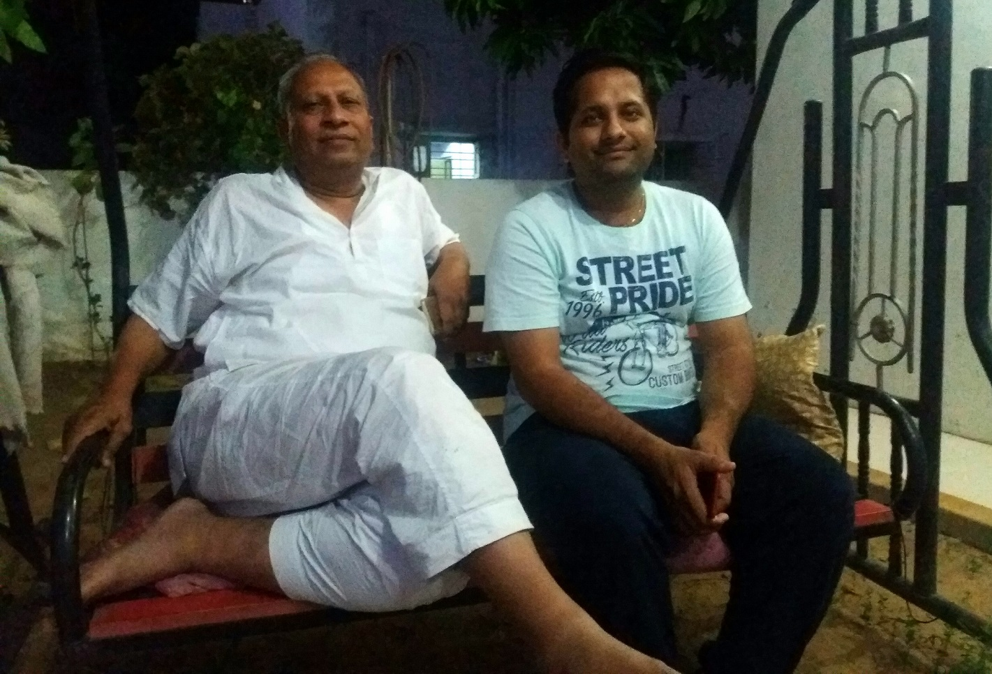 Arvind and Sagar Patel at their home in Mehsana Nagar Society in Vadodara.