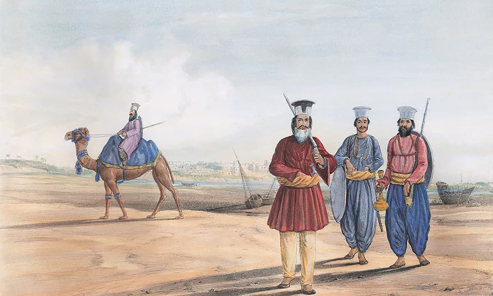 A lithograph of a Sindhi man and his attendants by James Atkinson | Karachi under the Raj 1843-1947