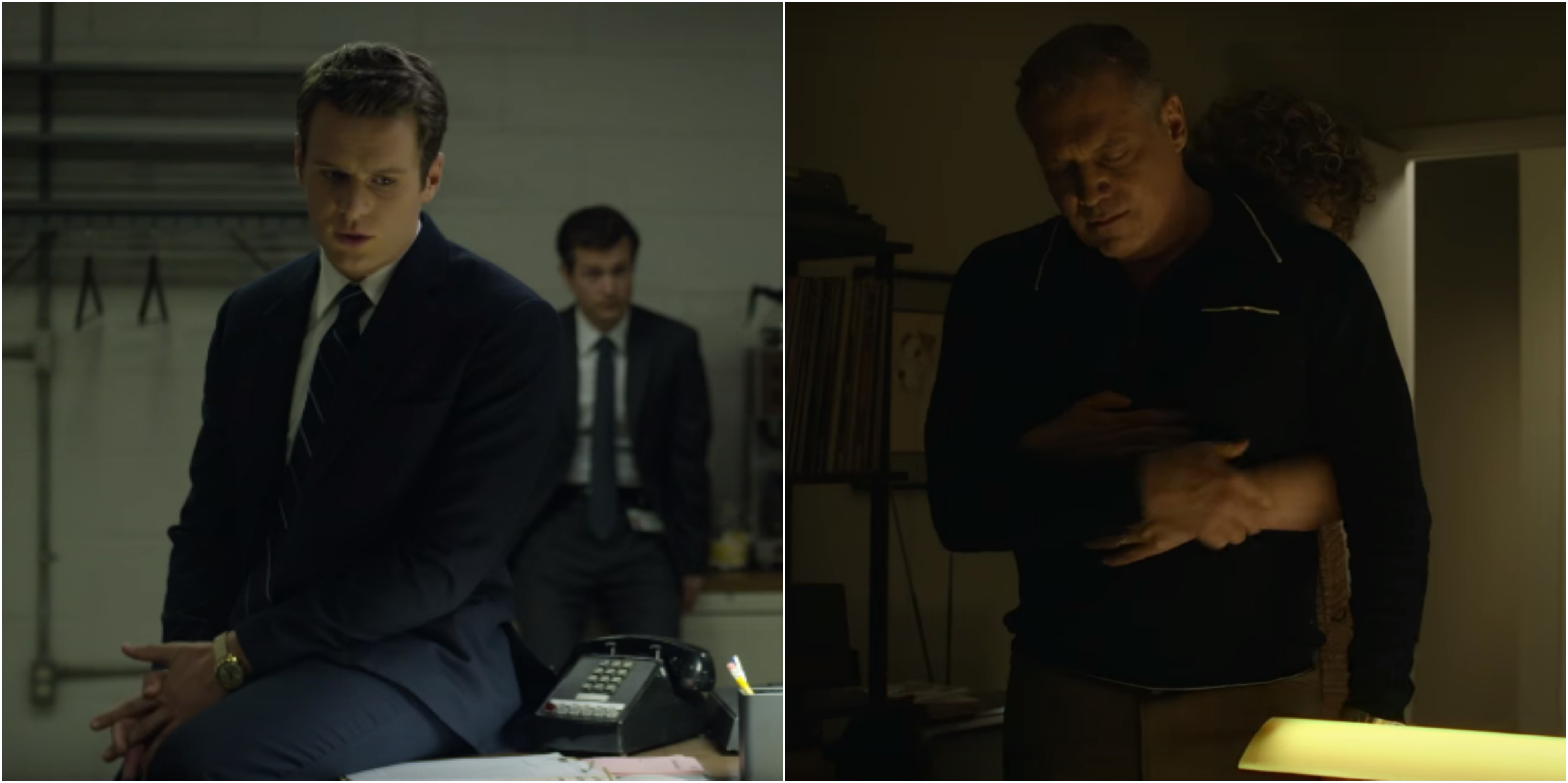 Jonathan Groff as Holden Ford (left), and Holt McCallany as Bill Tench in Mindhunter.