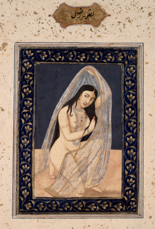 Lucknow artist Mihr Chand's painting of a fantasy courtesan, modelled on a European nude. Awadh, c. 1765–70 (BL J. 66,2)
