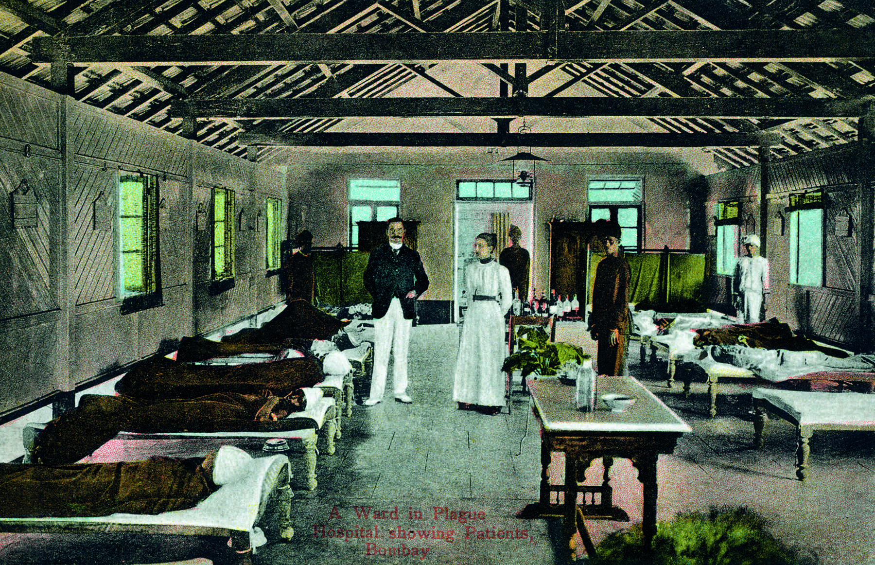 'A Ward in Plague Hospital', Bombay, showing Patients, by Clifton & Co., c. 1903. Coloured collotype, Divided back, 13.85 x 8.8 cm, 5.45 x 3.46 in.