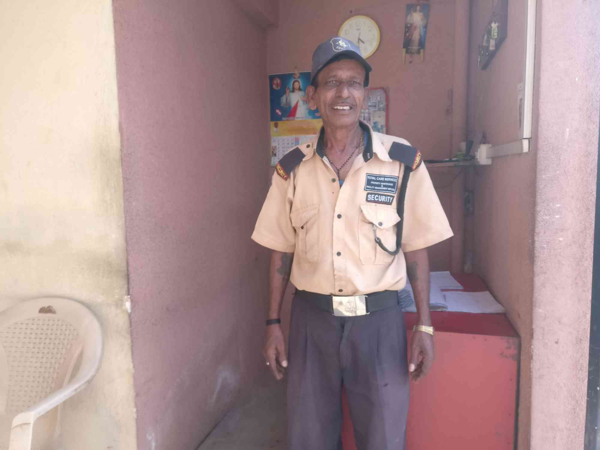 Gunasekhar works as a security guard in Bengaluru. (Photo credit: Nayantara Narayanan).