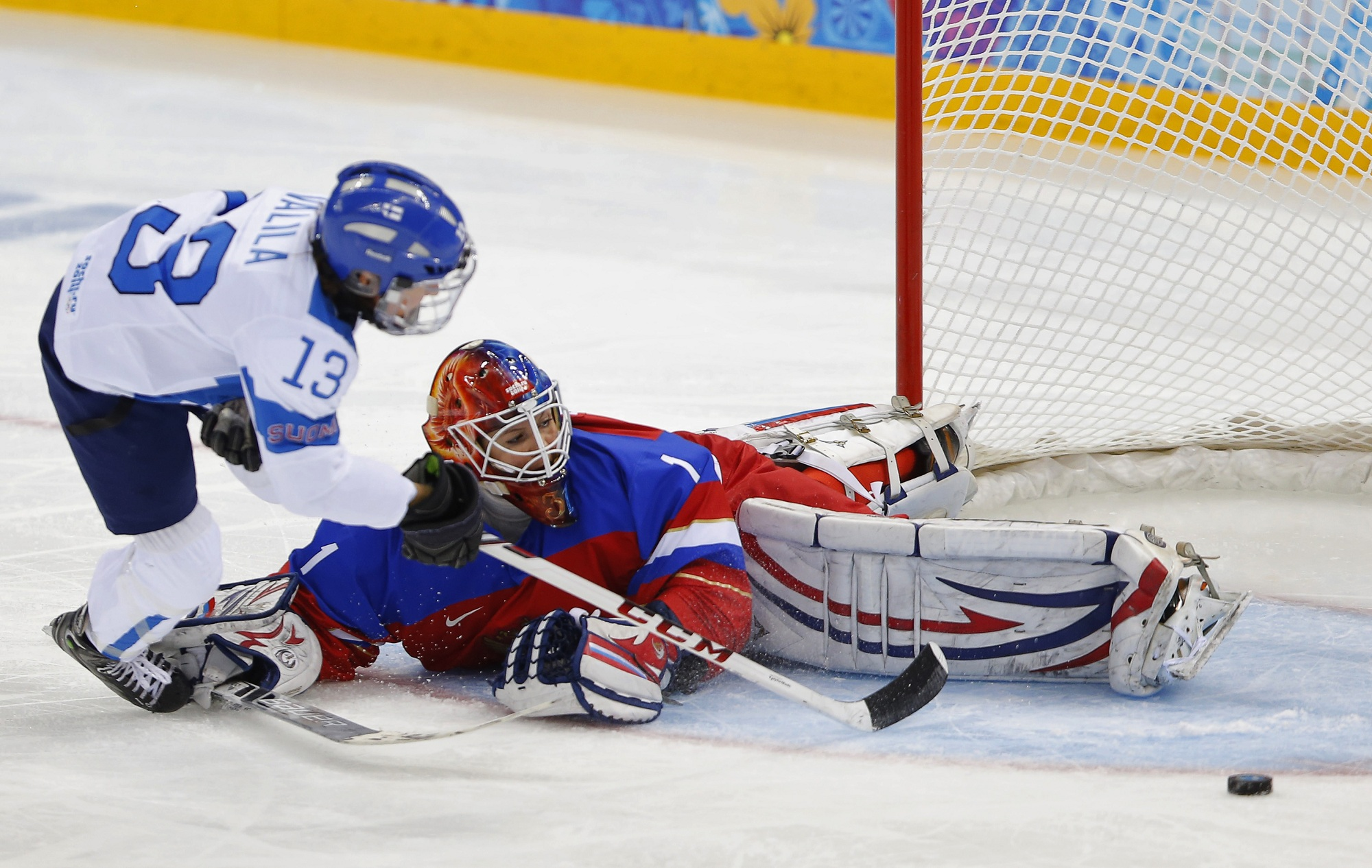 Riikka Valila (left) in action for Finland in Sochi 2014 | Photo courtesy: Reuters