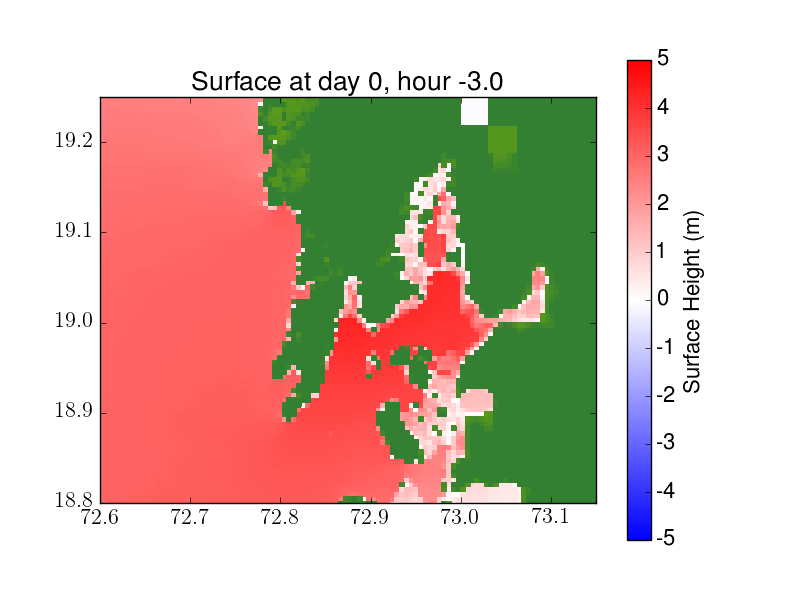 Simulation of a storm surge from a hypothetical future severe cyclone impacting Mumbai. The colour indicates water elevation above mean tide or, if on land, depth of the water. Image credit: Kyle Mandli