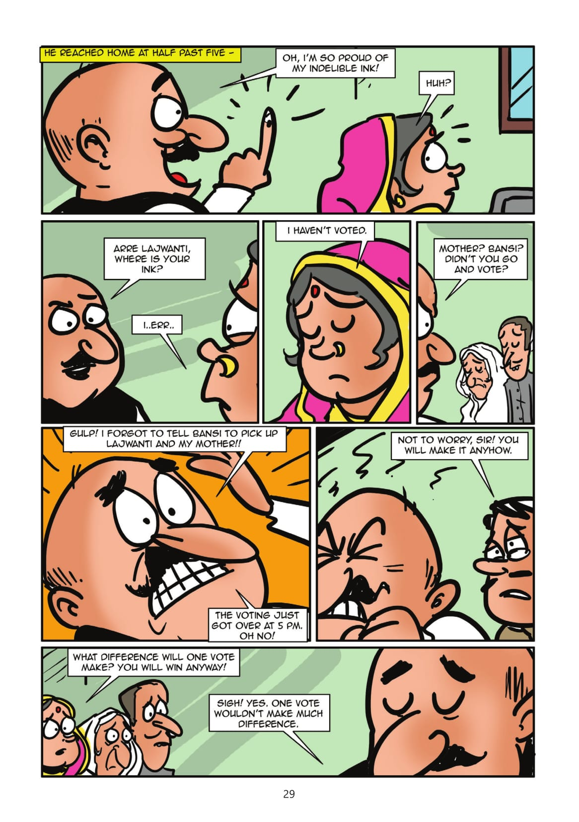 A page from 'One Vote' (Story by Kanan and Kelly Dhru/Illustrated by Abhijeet Kini).