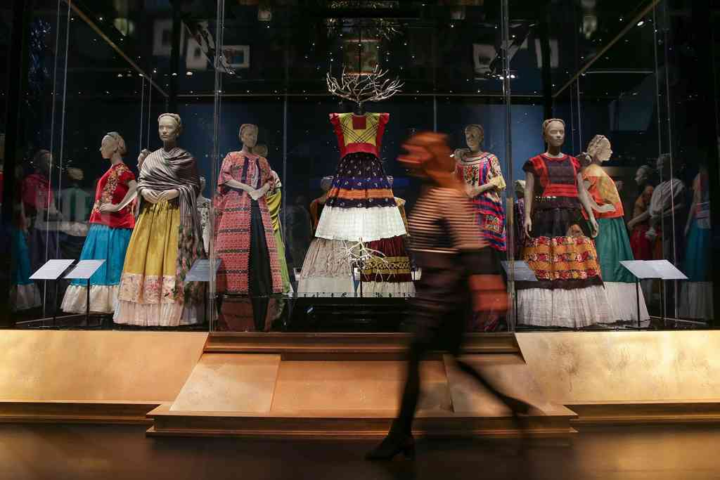 A display of dresses owned by Frida Kahlo at the exhibition 'Frida Kahlo: Making Her Self Up'. Photo credit: Daniel Leal-Olivas/AFP