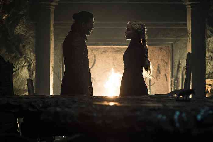 Jon Snow (Kit Harington) and Daenerys (Emilia Clarke) in Game of Thrones. Courtesy of HBO.