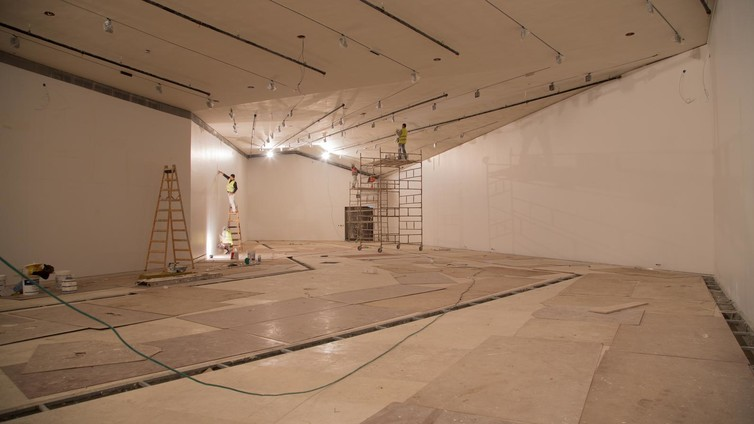 The interior in construction. © The Palestinian Museum