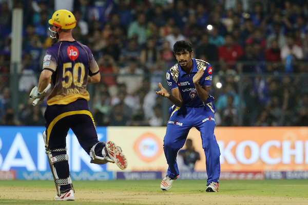 The Lynn-sanity comes to an end, courtesy Bumrah. Image credit: Vipin Pawat/IPL/Sportzpics