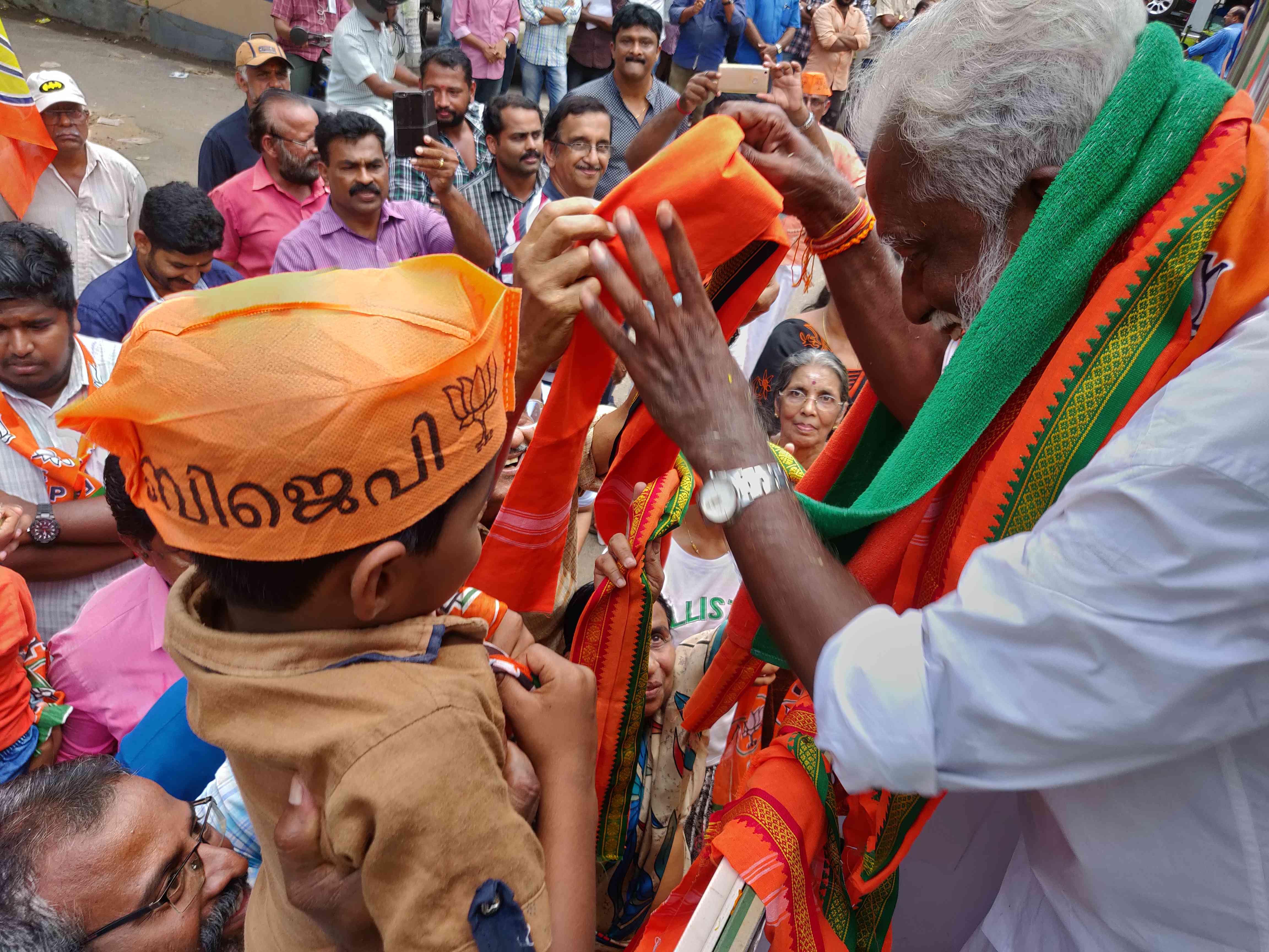 Kummanam Rajasekharan during his campaign in Thiruvananthapuram. (Photo credit: TA Ameerudheen).