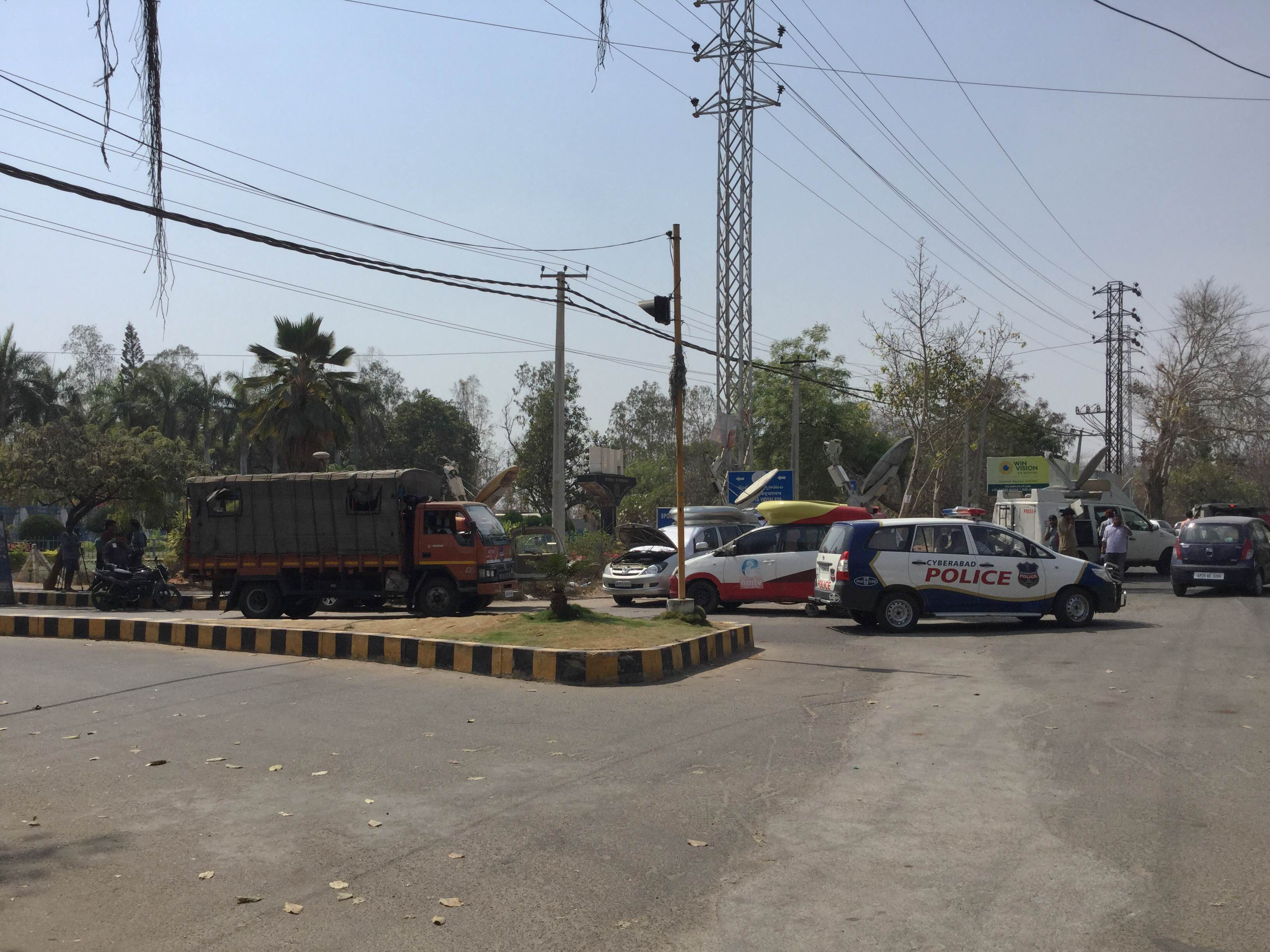 Police presence outside campus. Photo: Ayesha Minhaz