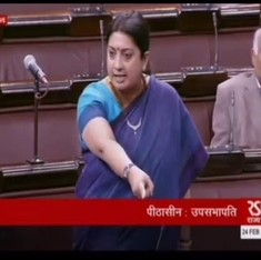 Watch: Smriti Irani's dramatic performances in both houses of Parliament on Wednesday