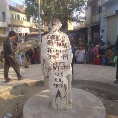 'ISIS zindabad' written across defaced Mahatma Gandhi statue in Rajasthan