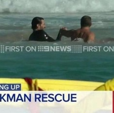 Watch Hugh Jackman rescue swimmers, including his kids, from a strong riptide at Bondi Beach