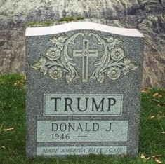 A fake tombstone for Donald Trump, the man who 'made America hate again' shows up in New York's Central Park