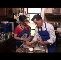 Watch Stephen Colbert try – and mostly fail – to learn Indian cooking on 'The Late Show'