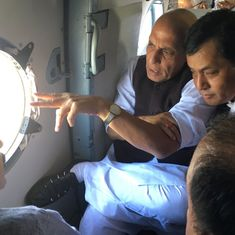 Rajnath Singh conducts aerial survey of flood-hit Assam as state continues to reel