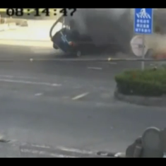 Caught on camera: Couple miraculously survive a cement truck completely crushing their car