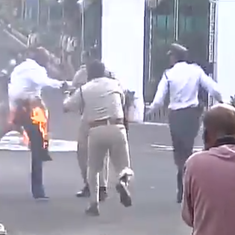 Watch: Vyapam protestor sets himself on fire before MP Governor Ram Naresh Yadav's convoy