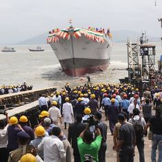 Indian Navy launches advanced guided-missile destroyer Mormugao in Mumbai