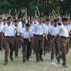 On Dussera, RSS ditches khaki shorts for brown trousers