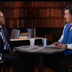 Watch: Barack Obama will soon be out of a job. Stephen Colbert offers to spruce up his resumé