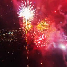 Video: A drone flew past a fireworks display. This is what it looked like