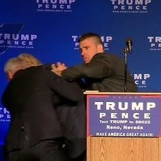 Irony watch: Donald Trump is rushed off stage in Nevada after someone yelled, 'Gun!'