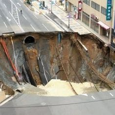 Watch: Massive sinkhole swallows street intersection in Japanese town
