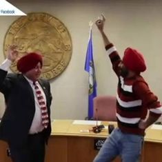Watch: In viral video, Canadian mayor learns to tie the turban and do the bhangra