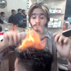 Hair on fire: Pakistani barber replaces scissors with flames for nuanced hairstyles