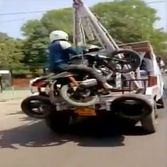 Watch: Is this biker pulling off the new 'Dhoom' stunt or avoiding a fine?