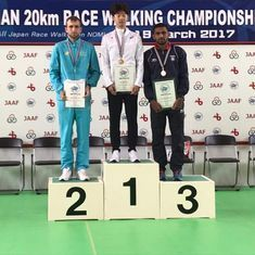 India's KT Irfan wins bronze in 20 km men's event at the Asian Race Walk Championships