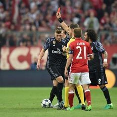 Bayern crash at home as Javi Martinez sent off, Cristiano Ronaldo brace sees Real Madrid win