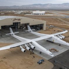 World's largest plane that will launch rockets into space makes its first appearance