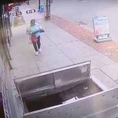 Watch: A woman falls into a basement, distracted by her phone while walking (but there's more to it)