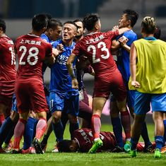 Former Chelsea midfielder Oscar sparks mass brawl during Chinese Super League game