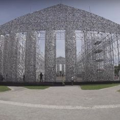 Watch: This imaginative replica of the Parthenon was built with 100,000 copies of banned books