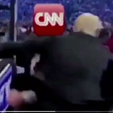Watch: Donald Trump posts WWE-inspired video of him violently assaulting 'fake news' CNN