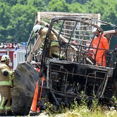 At least 18 feared dead after tourist bus hits truck, bursts into flames in Germany